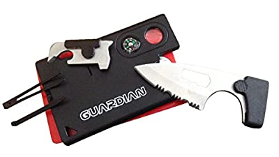 Pocket Knife Credit Card Survival Tool w Compass [10 Tools] Best Gear Fishing Camping Self Defense from Guardian Accessories