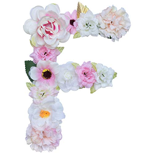 Artificial Ornaments Floral Letter Pink Theme,8.3x5.9x0.6in, Hang on Front Door and Wall, Home Decoration, Suit For Baby Shower, Anniversary, Birthday Party, Baby Room, Wall Ornament (1 Letter, F)
