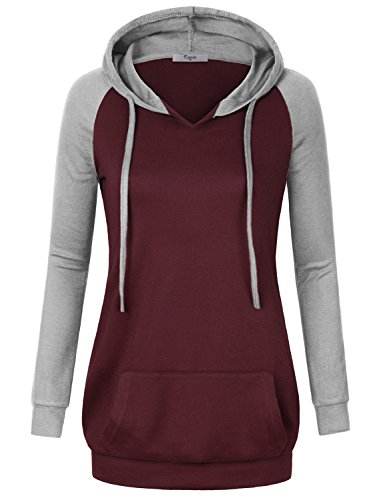 Hooded Tunic Pants - Cestyle Hooded Sweatshirt Women, Autumn Outerwear Ladies Long Sleeve V Neck Kangaroo Pocket Breathable Warm T Shirt Sweater Exercise Relaxed Fit Knitted Tunic Hoodies with Drawstrings Wine X-Large