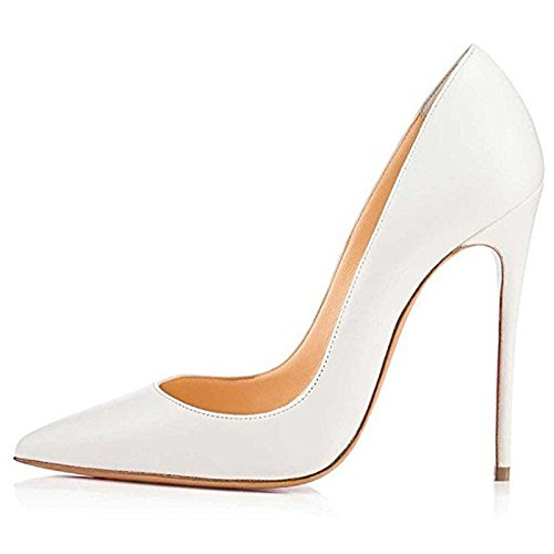 Chris-T Womens Pointed Toe High Heels Stilettos Pumps Party Shoes White ZYHE7ranF