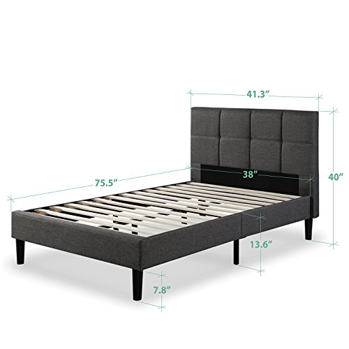 Zinus Upholstered Square Stitched Platform Bed with Wooden Slats,�Twin