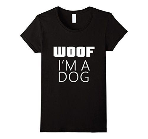 Womens I'm A Dog Woof Costume for Halloween Parent Mom Dad T-Shirt Large (Halloween Costumes For Moms And Dads)