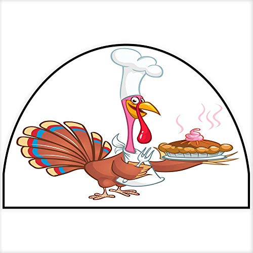 Hua Wu Chou Half Round Front Door matwelcome mat Half Round W35 x H23 INCH Cartoon Turkey Wearing Chief hat and Holding a Holiday Pie Vector Illustration Isolated on White