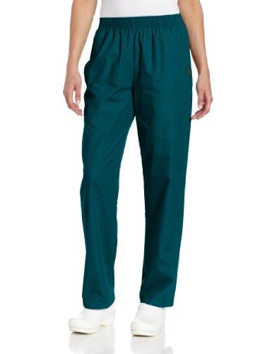 Landau Women's Plus Comfortable Relaxed Fit 2-Pocket Elastic Waist Scrub Pant, Hunter, 2X-Large Petite