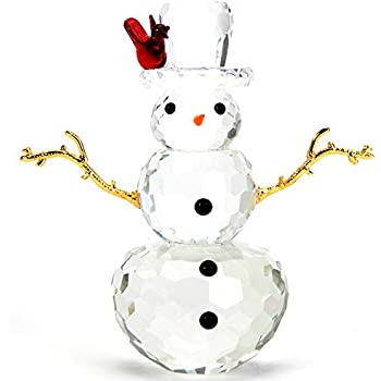 442f035dd Bits and Pieces - Crystal Snowman Figurine - Decorative Hand Crafted  Christmas Crystal Collectible Figurines