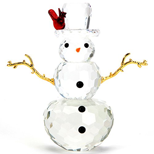 Bits and Pieces - Crystal Snowman Figurine - Decorative Hand Crafted Christmas Crystal Collectible -