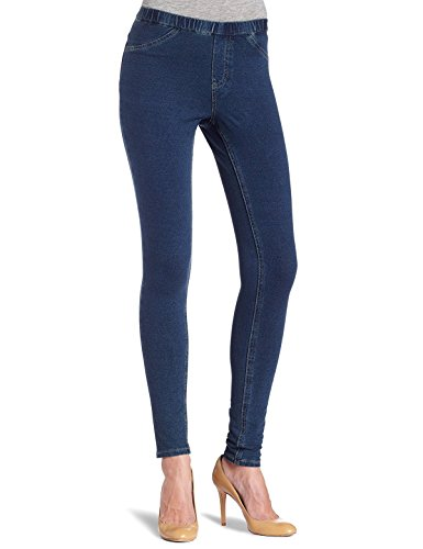 HUE Women's Solid Skinny Jeanz Legging (X-Small, Navy Denim) (Skinny Leggings Hue Jeans)