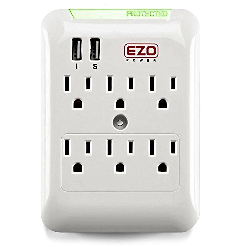 Wall Power Strip EZOPower 6 AC Outlet Mount Plate Surge Charge Protector with 2 USB Charger Ports 2.4A (UL Certified) Security Wall Plate