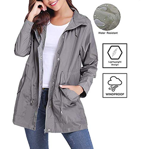 Impermeabile Giacca Hooded Antivento Cappotti Grigio Patchwork Mxssi Coat Casual Donna Trench A Vento Coulisse H0xAIqSn