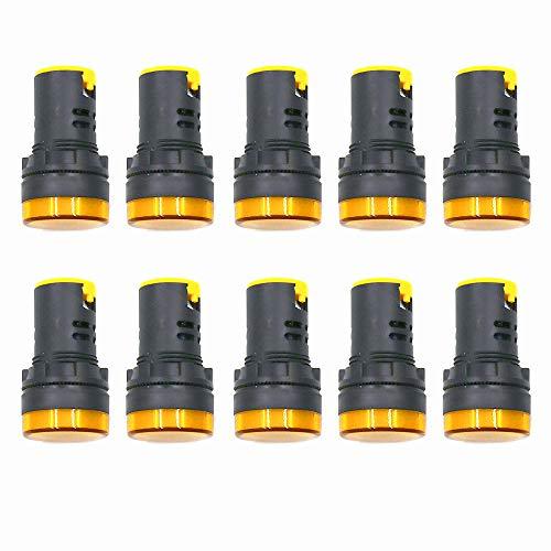 - HONJIE Yellow LED Indicator Pilot Signal Light Lamp AC/DC 110V Flush Panel Mount 7/8
