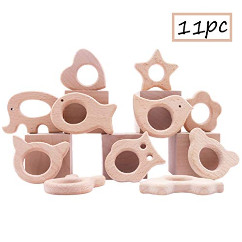 Promise Babe Baby Wooden Teether 11pc Wood Teething Toy Nature Beech Animals Safe Teething Relief Toys DIY Bracelet Necklace Teething Jewelry - Maple Ring Teething