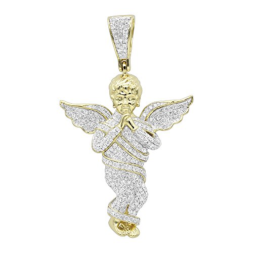 18k White Gold Pave Diamond Pendant (Mens 10K Rose, White or Yellow Gold Diamond Baby Angel Pendant 1.3ctw (Yellow Gold))