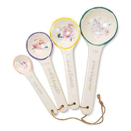 Tri-Coastal Design Floral Decorative Ceramic Measuring Spoons in Assorted Sizes: 1 Tablespoon, 1 Teaspoon, 1/2 Teaspoon and 1/4 Teaspoon Set