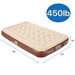 "missyee Inflatable Twin Air Mattress – 9"" Single Height with 75W Powerful Rechargeable Battery Air Pump for Camping Truck, Durable Chamber, Storage Bag – 365 Night Trial"