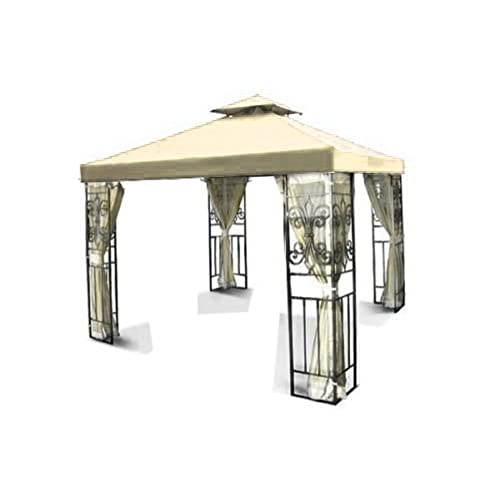 Flexzion 10u0027x10u0027 Gazebo Replacement Canopy Top Cover (Beige) - Dual Tier with Plain Edge Polyester UV30 Water Resistant for Outdoor Garden Patio Pavilion ...  sc 1 st  Amazon.com & Canopy Replacement Parts: Amazon.com