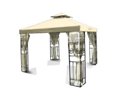 Flexzion 10'x10' Gazebo Replacement Canopy Top Cover (Beige) - Dual Tier with Plain Edge Polyester UV30 Water Resistant for Outdoor Garden Patio Pavilion Sun Shade