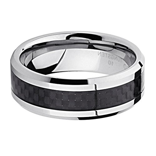 LASER ENGRAVING SERVICE 8MM Wellingsale LUXE Series Cobalt Free, Comfort Fit Tungsten Wedding Band Ring with Sporty Black Carbon Fiber Inlay and Diamond Beveled Edge for Men and Women in Size 15 [DETAIL INFORMATION - PLEASE CLICK AND CHECK THE ITEM DESCRIPTION] (Ring Wedding Comfort Fit Sporty)