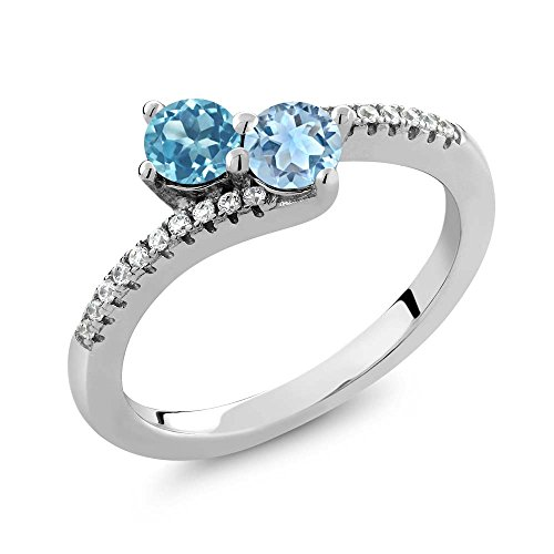 0.90 Ct Round Swiss Blue Topaz Sky Blue Topaz Two Stone 925 Sterling Silver Bypass Ring (Available in size 5, 6, 7, 8, 9) Two Stone Bypass Ring
