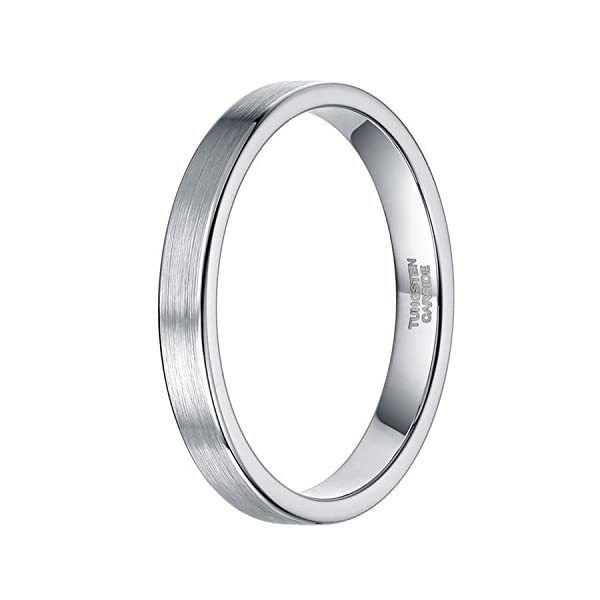 3mm 6mm Silver Tungsten Wedding Ring Band for Women Men Simple Thin Brushed Matte Comfort Fit - 41U2BoJhXAL - 2mm 3mm 6mm Silver Tungsten Wedding Ring Band for Women Men Simple Thin Brushed Matte Comfort Fit Size 4-13