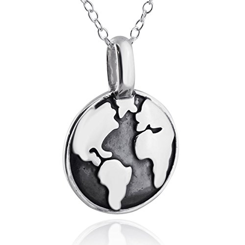 - FashionJunkie4Life Sterling Silver Textured World Globe Pendant Necklace, 18