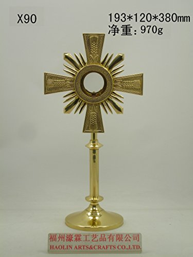 Brass Monstrance Reliquary with Luna for Catholic Church Mass 14.96''H X90 by Generic