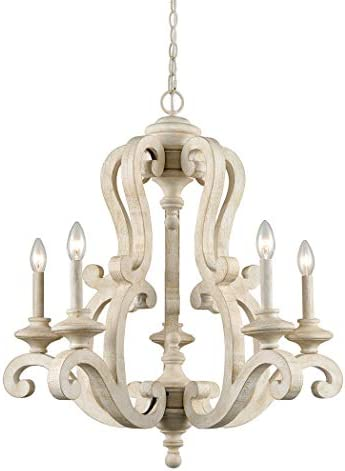 CLAXY Rustic Wooden Chandelier American Country Cottage Style 5 Light Candelabra Fancy Chandelier