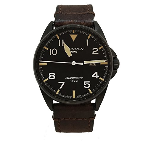 Torgoen T38 Black Swiss Automatic Watch | 44mm - Vintage Leather Strap | Sapphire Crystal | Black Case