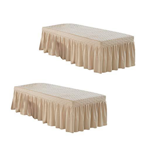 Flameer 2Pcs Light Camel Beauty Salon Massage Table Skirt with Face Rest Hole 185x70cm/73×28 inch Lightweight