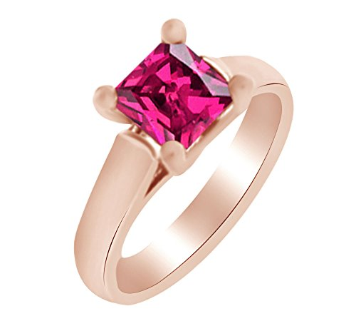 Princess Shape Simulated Ruby Solitaire Engagement Ring In 14K Rose Gold (1.50 cttw) Ring Size-13.5 by AFFY