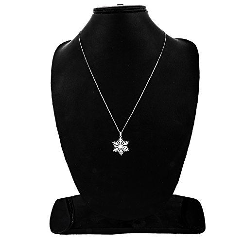 EternalDia 1/2CT TW Diamond Sterling Silver Snowflake Pendant Along with 18 inches Chain