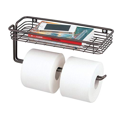 (mDesign Toilet Tissue Paper Holder and Multi-Purpose Shelf - Wall Mount Storage Organizer for Bathroom, Holds 2 Mega Rolls - Durable Metal Wire Design - Bronze )