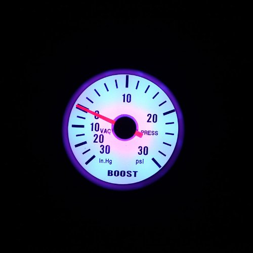 0~30PSI Blue LED Light KKmoon Turbo Boost Vacuum Press Gauge Meter for Auto Car 2 52mm 0~30in.Hg