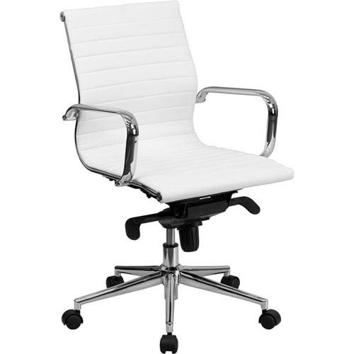 Parkside Mid-Back White Ribbed Upholstered Leather Swivel Conference Chair