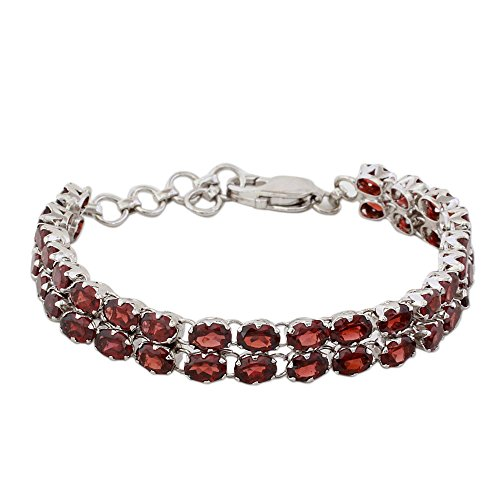 NOVICA Garnet .925 Sterling Silver Tennis Bracelet, 7