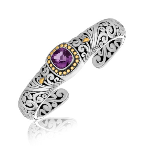18K Yellow Gold and Sterling Silver Baroque Style Cushion Amethyst Cuff Bangle by Jewels By Lux