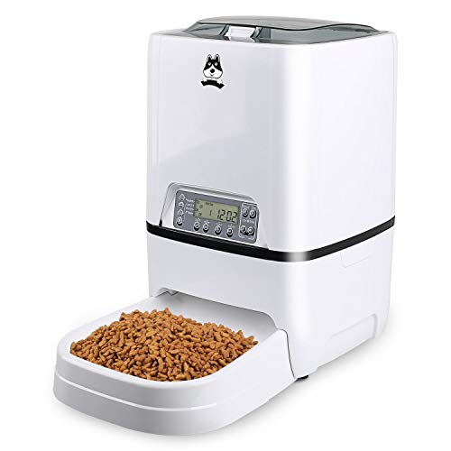 TDYNASTY DESIGN Automatic Cat Feeder 6.5L Pet Dog Food Dispenser | Timed Programmable Auto Feeder for Kitten Puppy - Portion Control Up to 4 Meals/Day,Voice Recording,Battery and Plug-in Power