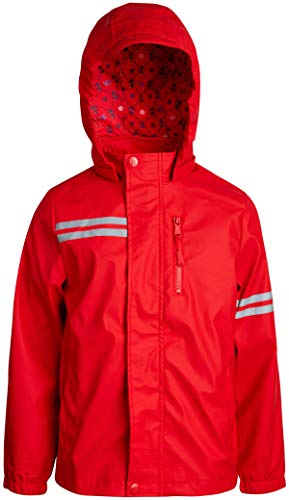(Urban Republic Boys Lightweight Waterproof Hooded Vinyl Raincoat Jacket, Red, Size)