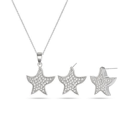 MYKEA Starfish Cubic Zirconia Jewelry Set - 14K White Gold Plated Star Pendent Crystal Rhinestone Necklace Earring Set for Party Prom Holiday Vacation Everyday Costume Jewelry