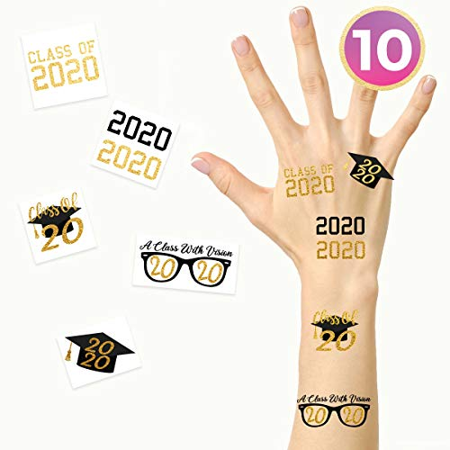 """FashionTats""""Class of 2020″ Gold & Black Metallic Temporary Tattoos 