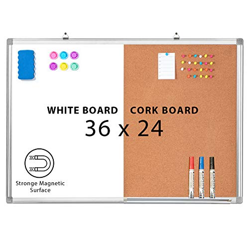 Combination Whiteboard Bulletin Cork Board 36 x 24 Combo White Board Magnetic Dry Erase Board + Corkboard for Homeschooling, Office, Classroom Hanging Message Board Wall Mounted