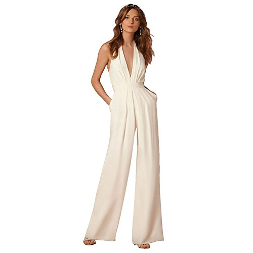 Lielisks Sexy Jumpsuits Formal Sleeveless V-neck Halter Wide Leg Long Pants White ()
