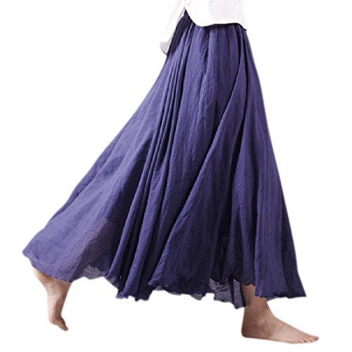 Ezcosplay Women Bohemian Elastic Waist Band Cotton Linen Long Maxi Skirt Dress