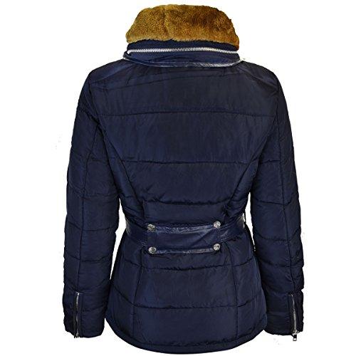 In Piumino Taglia Cappotto Donna Collo Cappuccio Invernale Pelliccia Imbottito Nuovo Blu Parka Thirsty Navy Fashion q0PX44