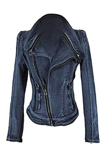 Slim Autunno Cerniera Jeans Donna Tasche Di Bavero Laterali Semplice Giacca Blau Manica Moda Corto Invernali Con Casual Elegante Fit Cappotto Glamorous Lunga Outerwear Jacket OOFq4YU