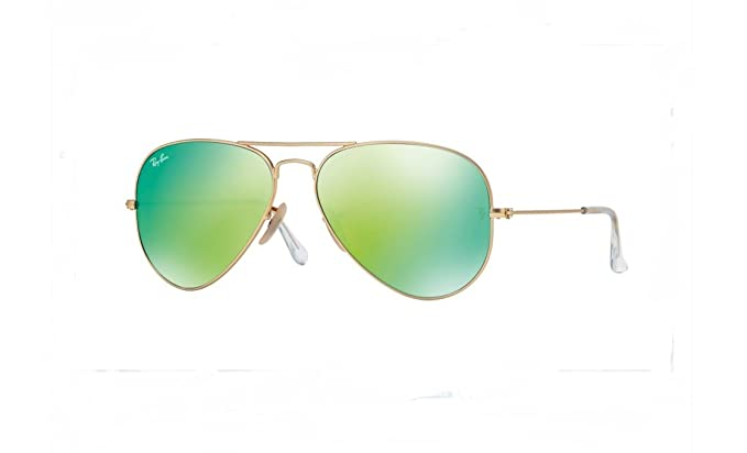 98abe466a8 Image Unavailable. Image not available for. Color  Ray-Ban RB3025 Aviator  Large Metal Mirrored Unisex Sunglasses (Matte Gold Frame Crystal