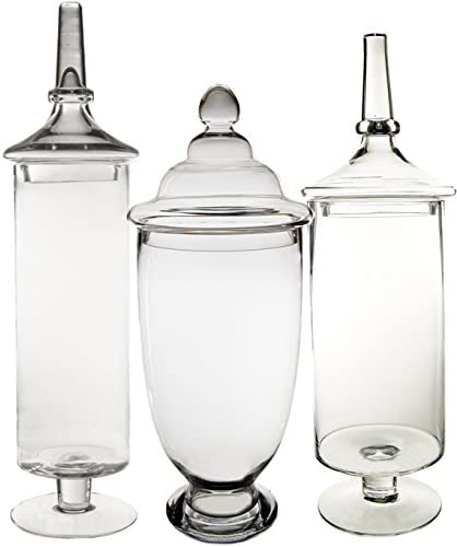 CYS Apothecary Jar Candy Buffet with Lid, Set of 3