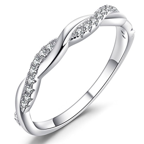 Caperci Twisted Vine Sterling Silver Cubic Zirconia CZ Anniversary Wedding Band Ring for Women Size 6