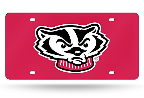 """Rico Industries NCAA Wisconsin Badgers Laser Inlaid Metal License Plate Tag, Red, 6"""" x 12"""""""