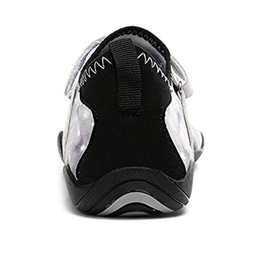 SUNAVY Unisex Barfuß Wasser Leinwand Schuhe für Strand Swim Surf Yoga Fitness (EU 34—EU 44) Weiß