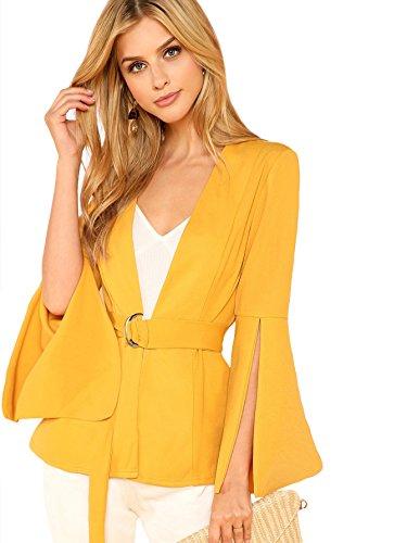 Belted Blazer - MAKEMECHIC Women's Split Bell Sleeve Open Front Blazer Belted Tie Waist Outerwear Yellow L